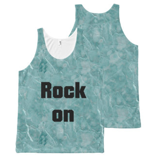 Rock On Turquoise & White Veined Marble Stone All-Over Print Singlet