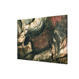 Rock painting of a black bull, c.17000 BC (cave pa Canvas Print