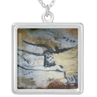 Rock painting of a bull with long horns silver plated necklace