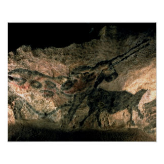Rock painting of a horned animal, c.17000 BC (cave Poster