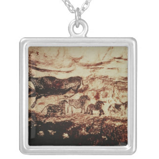 Rock painting of a leaping cow necklace