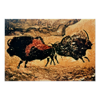 Rock painting of bison, c.17000 BC Poster