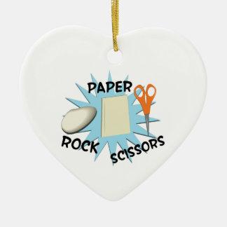 Rock Paper Scissors Ceramic Ornament
