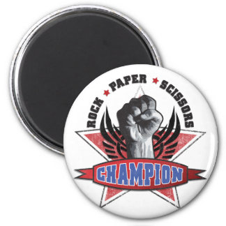 Rock, Paper, Scissors Champion 6 Cm Round Magnet