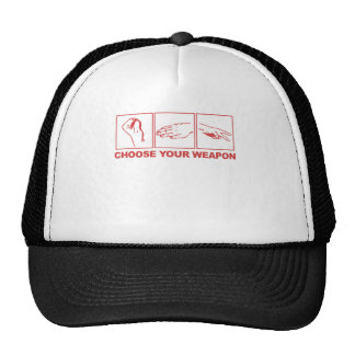 Rock Paper Scissors Choose Your Weapon Trucker Hats