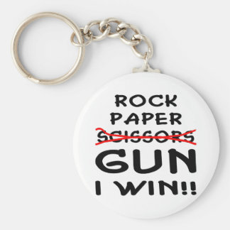 Rock Paper Scissors Gun I Win Basic Round Button Key Ring