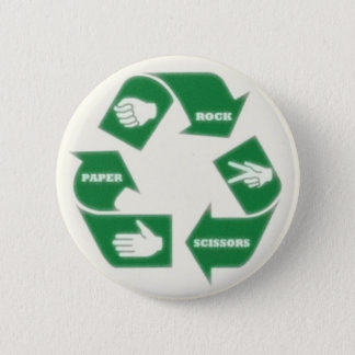 Rock Paper Scissors~ Recycle! Pin Button