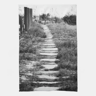 Rock Path up the hill in B/W Hand Towel