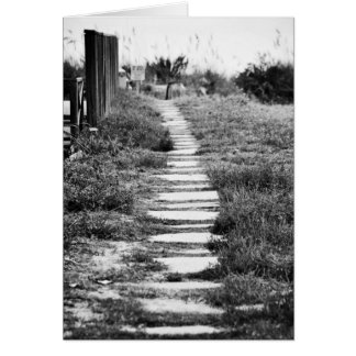 Rock Path up the hill in Black and White Card