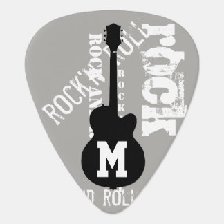 rock personalized guitar-themed gray guitar pick