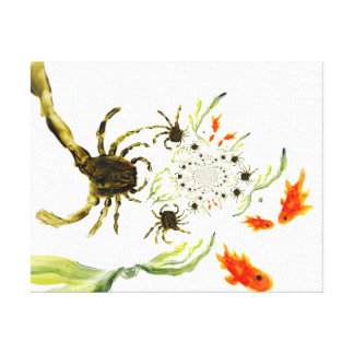 Rock Pool Crabs and Fish Fun Gallery Wrapped Canvas