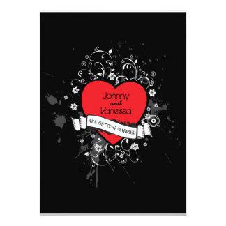 Rock & Roll Grungy Heart Music Themed Wedding Card