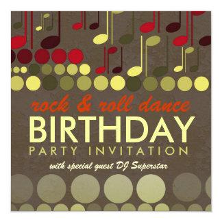 Rock & Roll Music Birthday Party Invitation