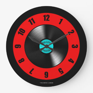 Rock & Roll Records Large Wall Clock