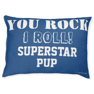 Rock Roll Superstar Pup Funny Blue Pet Pet Bed