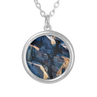 rock shadow texture silver plated necklace