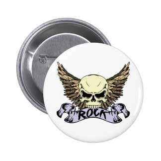Rock Skull with Wings 6 Cm Round Badge