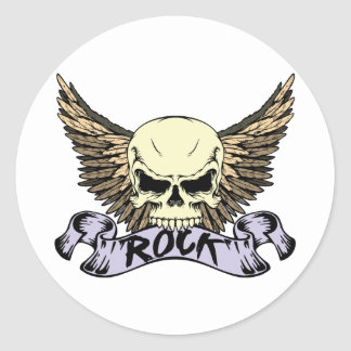 Rock Skull with Wings Round Sticker