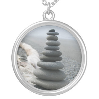 Rock Stack Round Pendant Necklace