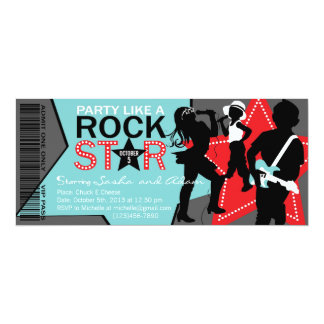 Rock Star Band Birthday Aqua Red Card