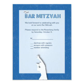 Rock Star Bar Mitzvah Reply Card in Blue 11 Cm X 14 Cm Invitation Card