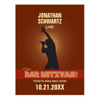 Rock Star Bar Mitzvah Save the Date Postcard
