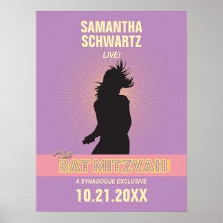 Rock Star Bat Mitzvah Poster-Purple Pink Poster