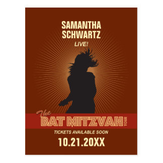Rock Star Bat Mitzvah Save the Date Post Cards