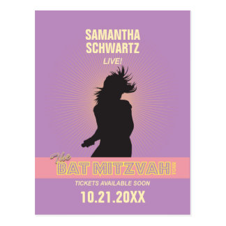 Rock Star Bat Mitzvah Save the Date-Purple Pink Postcards
