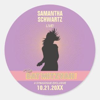 Rock Star Bat Mitzvah Sticker-Purple Pink Round Sticker
