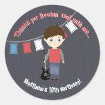 Rock Star Birthday Boy Round Sticker