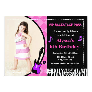 Rock Star Birthday Invitation 5x7 Photo Card