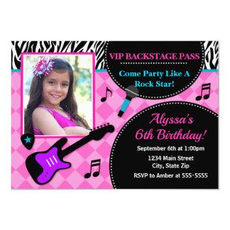 Rock Star Birthday Invitation Pop Star Girl