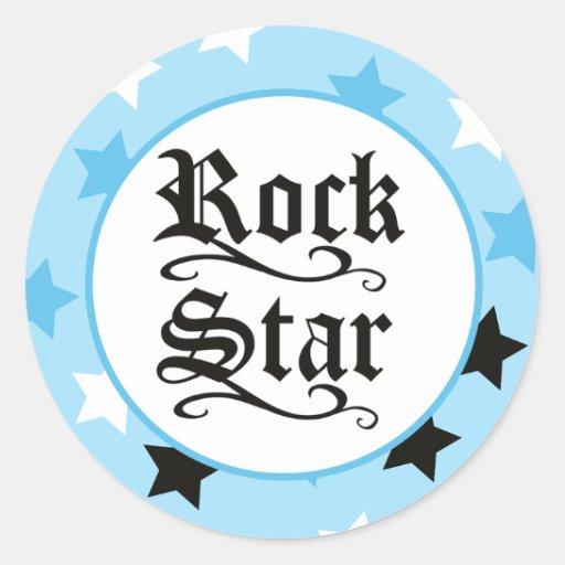 Rock Star (Blue) Envelope Seals / Toppers 20 Round Sticker