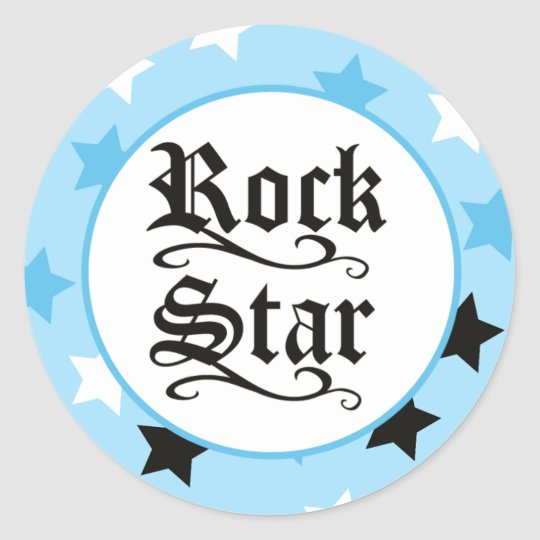 Rock Star (Blue) Envelope Seals / Toppers 20 Round Sticker