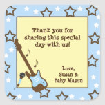 Rock Star boy baby shower favour rock band blue Square Sticker