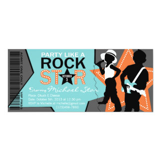 Rock Star Boy Band Birthday Aqua Orange Card