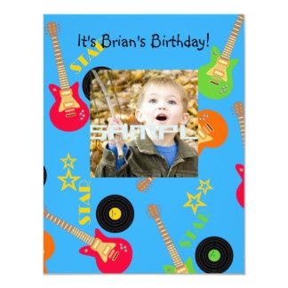 Rock Star Boy birthday party 11 Cm X 14 Cm Invitation Card