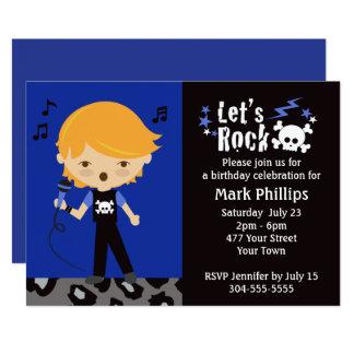 Rock Star Boy Birthday Party Card
