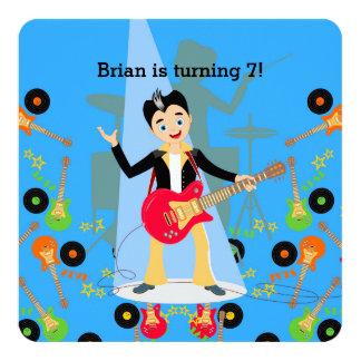 Rock Star Boy birthday party 13 Cm X 13 Cm Square Invitation Card