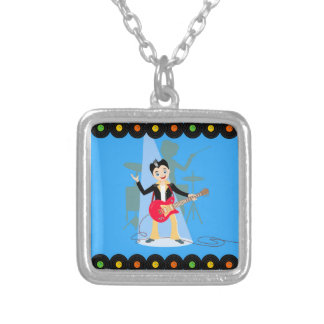 Rock star boy birthday party square pendant necklace