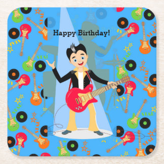 Rock Star Boy birthday party Square Paper Coaster