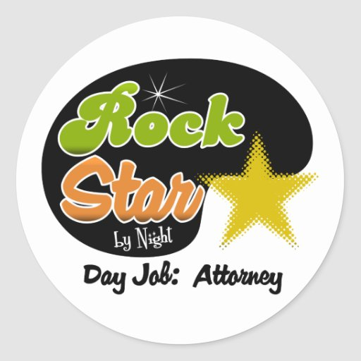 Rock Star By Night - Day Job Attorney Stickers