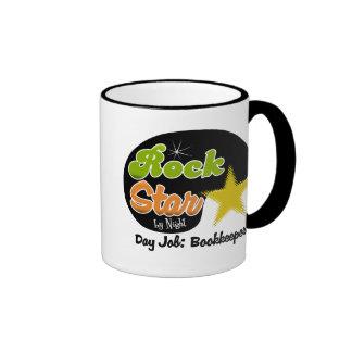 Rock Star By Night - Day Job Bookkeper Ringer Mug