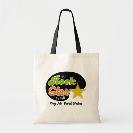 Rock Star By Night - Day Job Social Worker Tote Bags