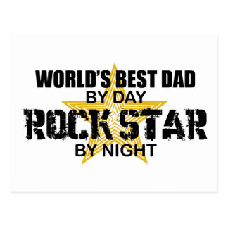 Rock Star by Night - World's Best Dad Postcard