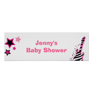 Rock Star Girl Baby Shower Banner Sign Poster
