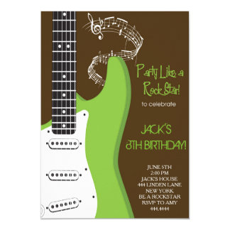 Rock star Green guitar birthday party invitations