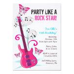 "Rock Star, Guitar Hero, Birthday Party Invitations 5"" X 7"" Invitation Card"