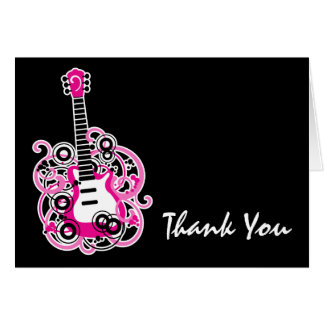 Rock Star Guitar Pink and Black Thank You Note Card